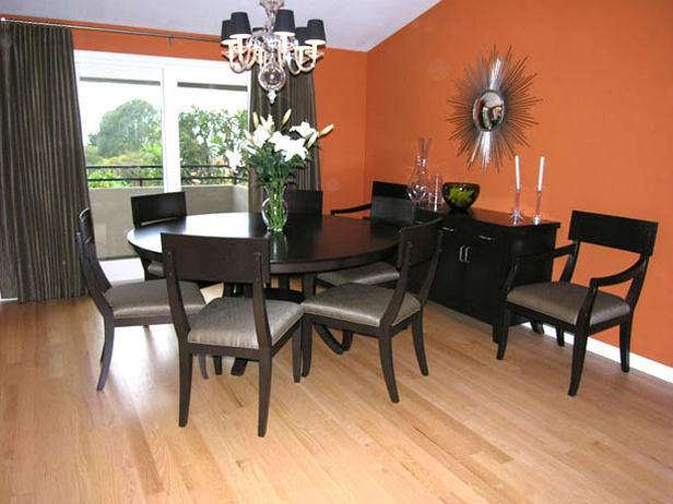 Modern house modern dining room in orange color for Orange and grey dining room