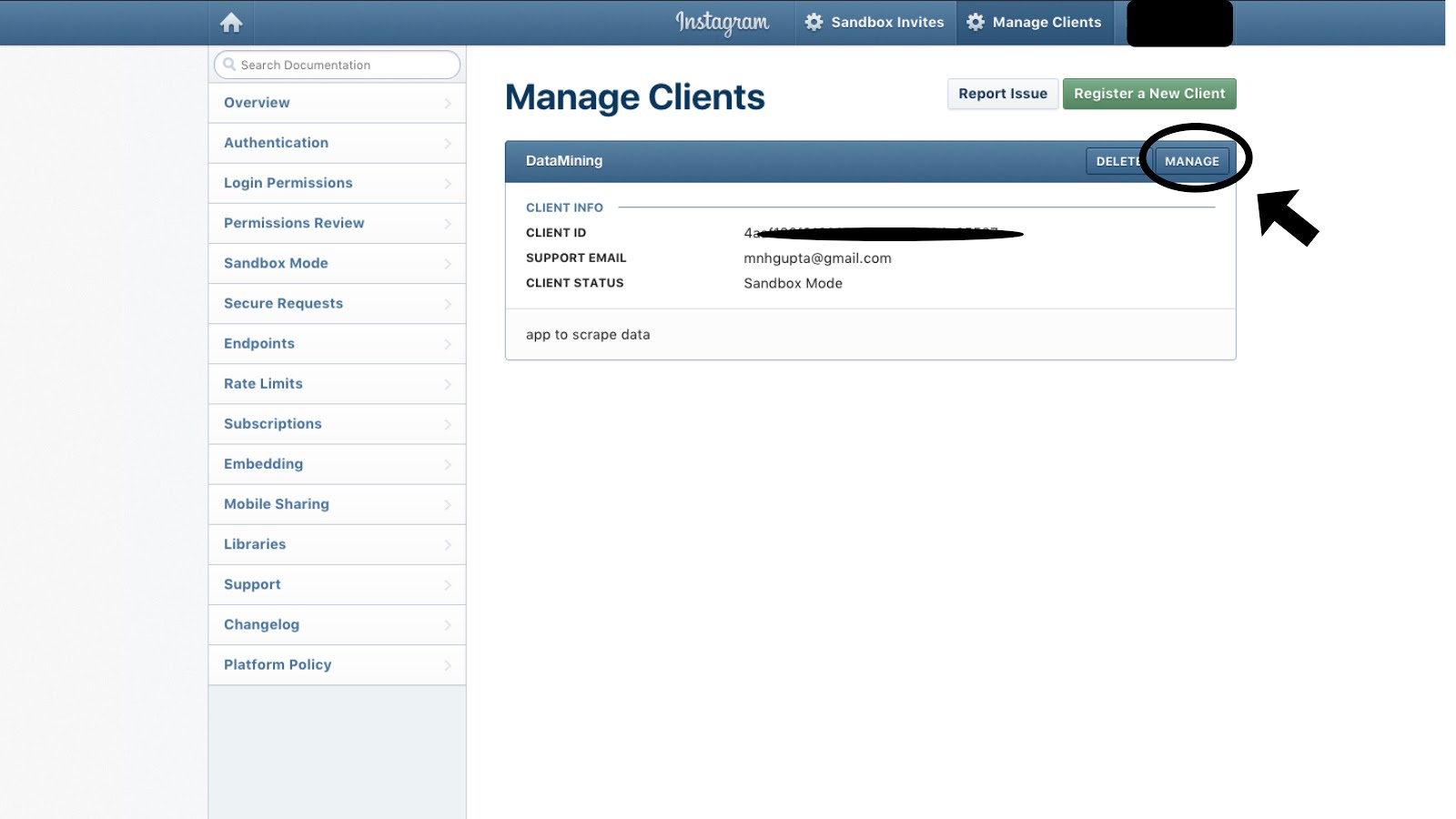 1c44eefbfa96 4. Click on the manage clients and you will see the following window. click  on the manage option.
