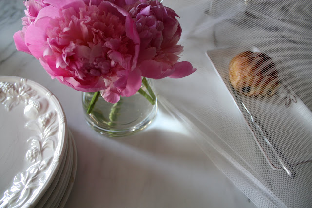 our house - marble island, peonies, chocolate croissant image by lb for linenandlavender.net