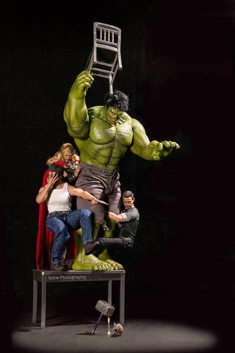 Foto Lucu Tokoh komik Captain Amerika, Hulk, X-man, Spiderman,  Ironman, Batma, Thor, dan lainnya