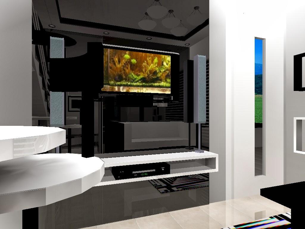 Rak TV simpel dengan panel hitam glossy