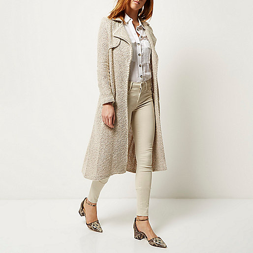 river island cream trench coat, bobbly trenchcoat,