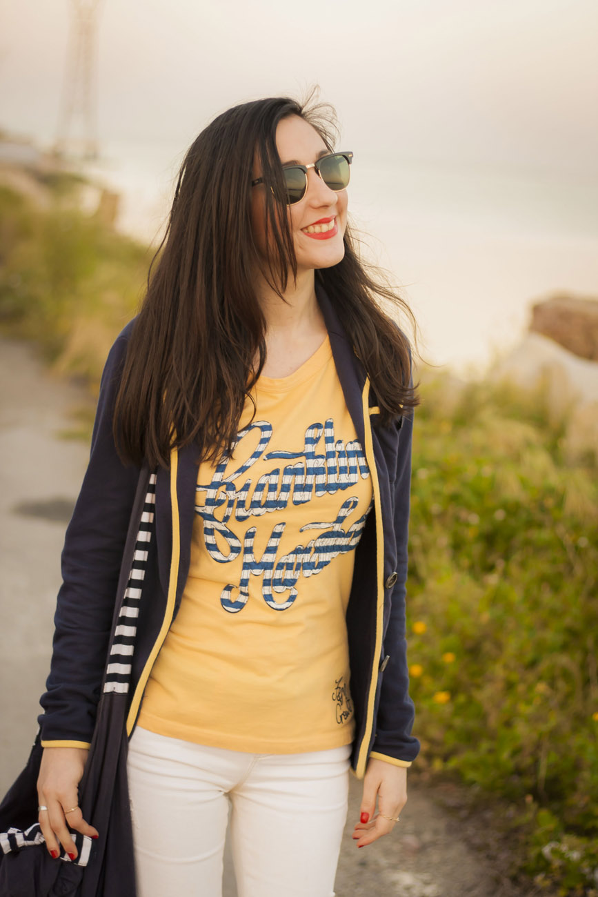 Franklyn Marshall Blue and Yellow T-Shirt