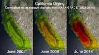 NASA satellite images show groundwater loss in California. (Credit: UC-Irvine/NASA) Click to Enlarge.