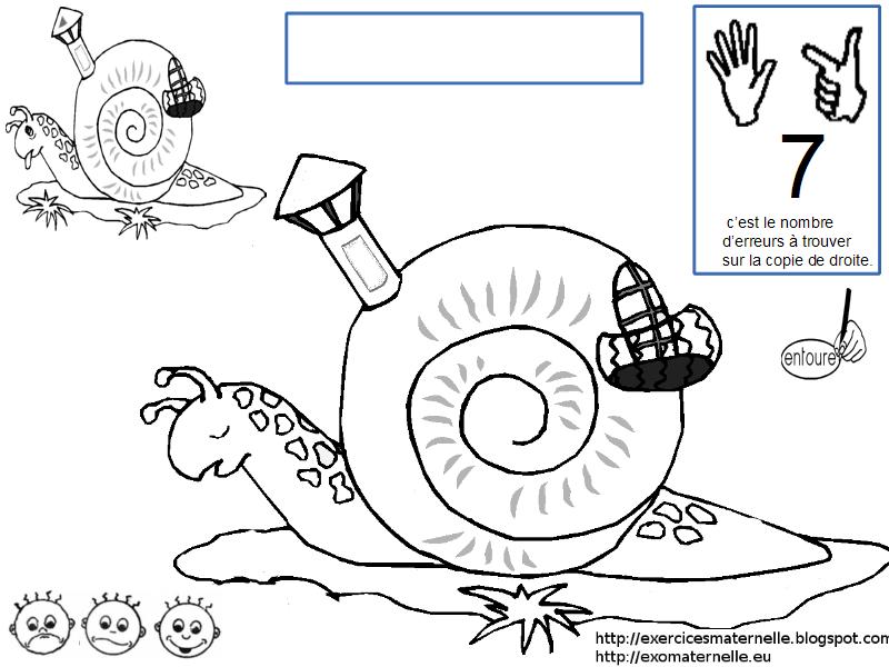 Maternelle jeu des diff rences avec des escargots - Escargot maternelle ...