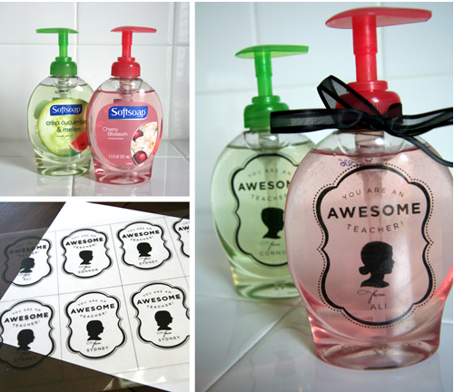 Teacher gift -Personalized Soap Dispenser with FREE printable from Crash Course Creative via Design Mom