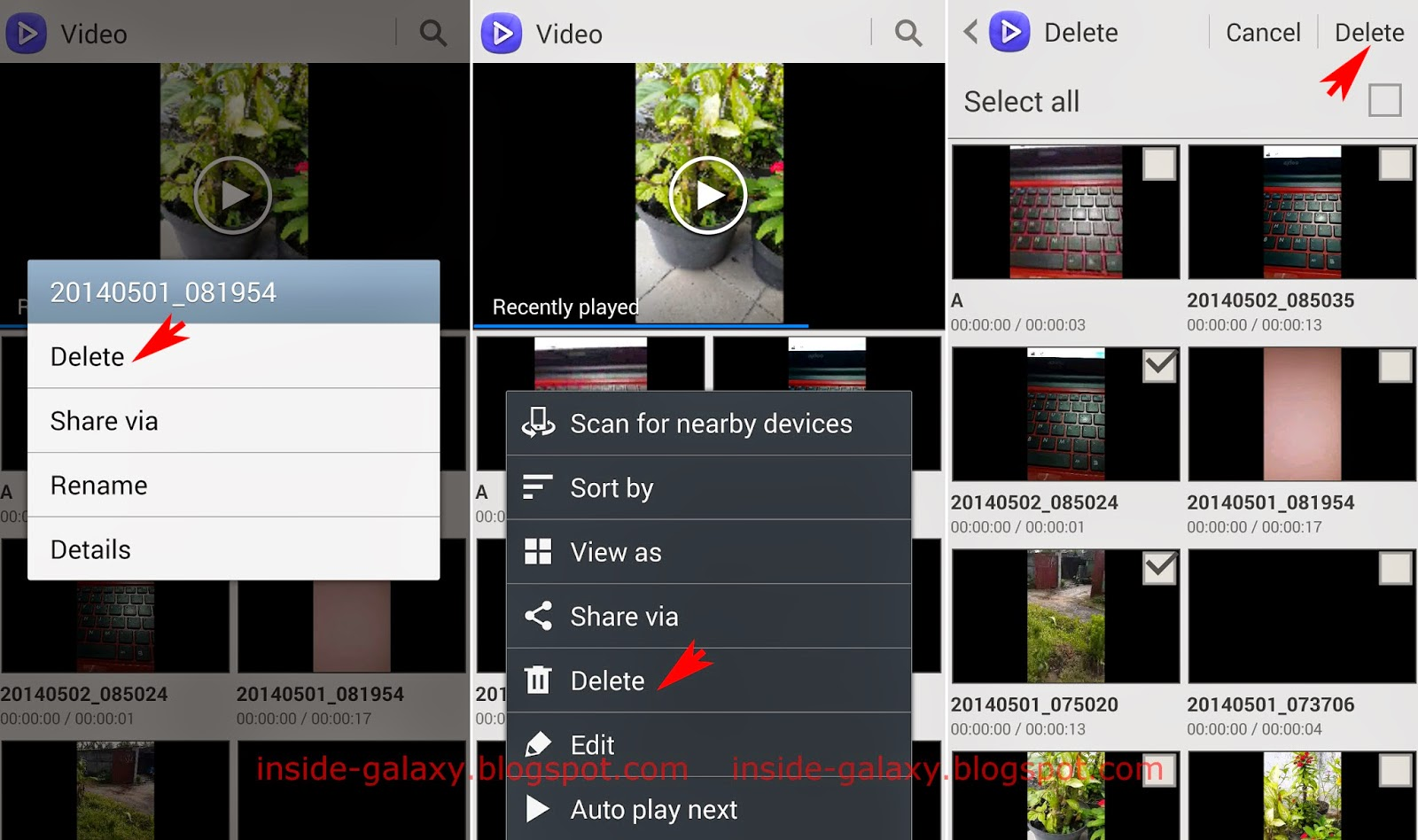 Samsung Galaxy S4: How to Delete Videos in the Video Player App in