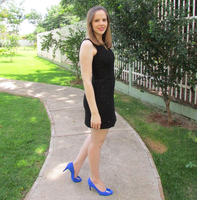 look, vestido, preto, sapato, azul