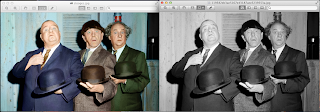 An example of the black and white image of the three stooges and the falsely coloured version produced by chris gardiner photography www.cgardiner.ca