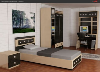 krem+renkli+ozel+tasarim+genc+odasi+takimi Yeni Tasarım Genç Odası Modelleri
