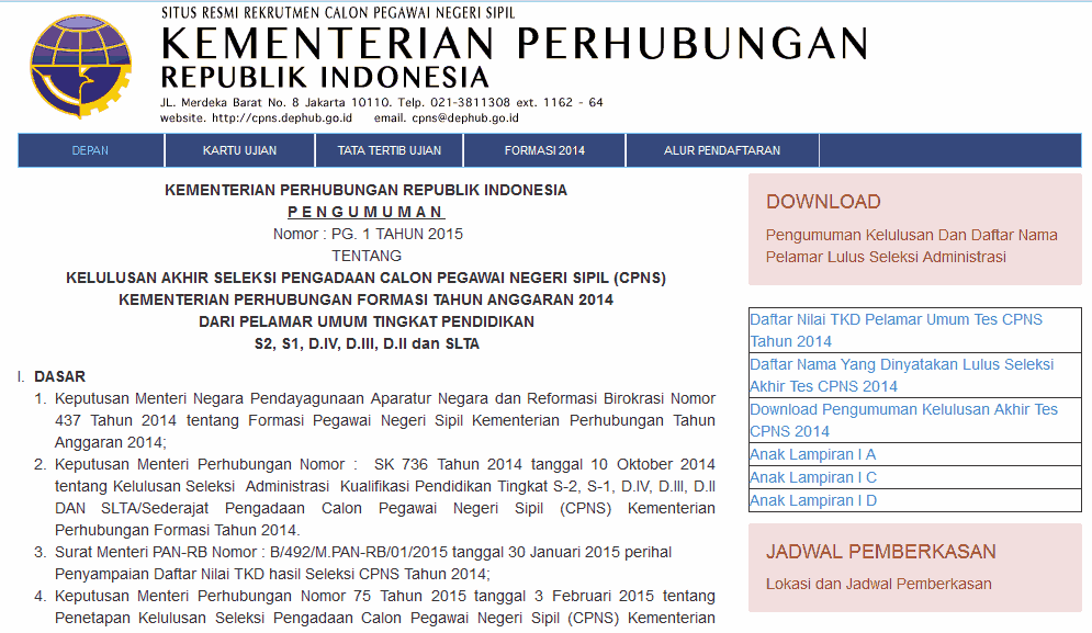 Hasil TKD CPNS Kemenhub 2014