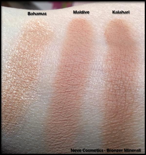 Neve Cosmetics - Bronzer Minerali - Swatch di Bahamas, Maldive e Kalahari
