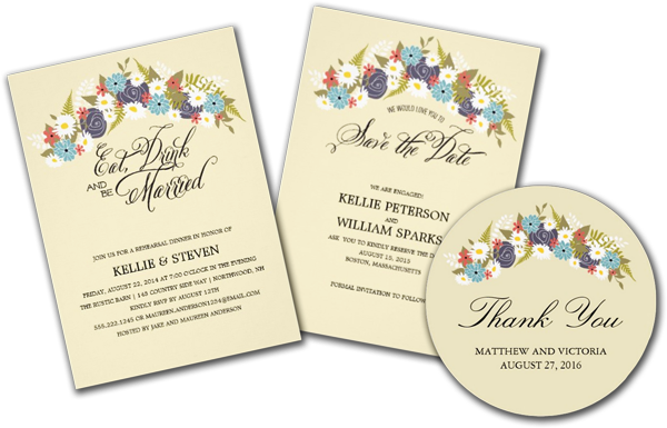 Eat Drink and Be Married Floral Wreath Invitation