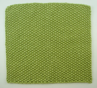 knit washcloth green seed stitch