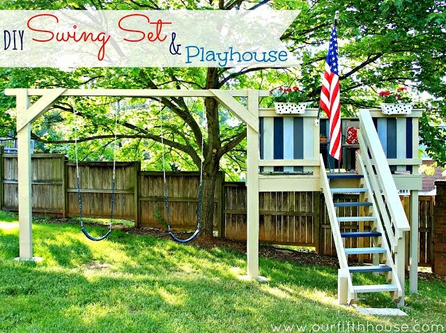 swingset + playhouse