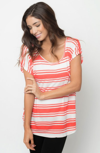 Buy online Multi color striped pocket tees for women on sale at caralase.com