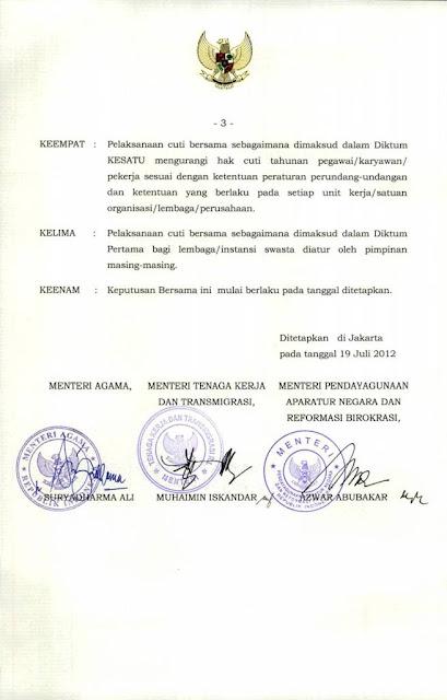 Jadwal Hari Libur Nasional dan Cuti Bersama Tahun 2013