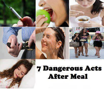 7 Dangerous acts after a meal~