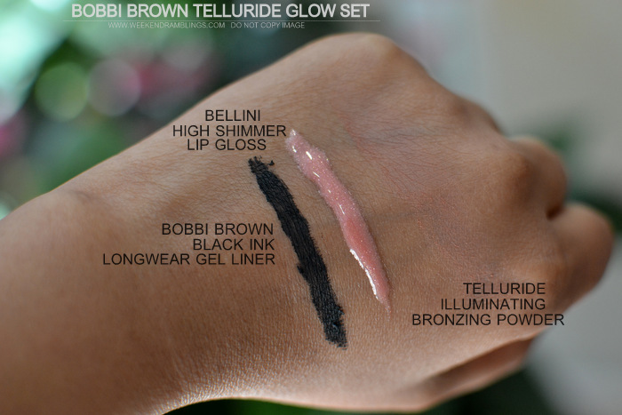 Bobbi Brown Telluride Glow Makeup Collection Black Ink Longwear Gel eyeliner Bellini High Shimmer Lipgloss Bronzing Powder Indian Makeup beauty Blog Photos Swatches