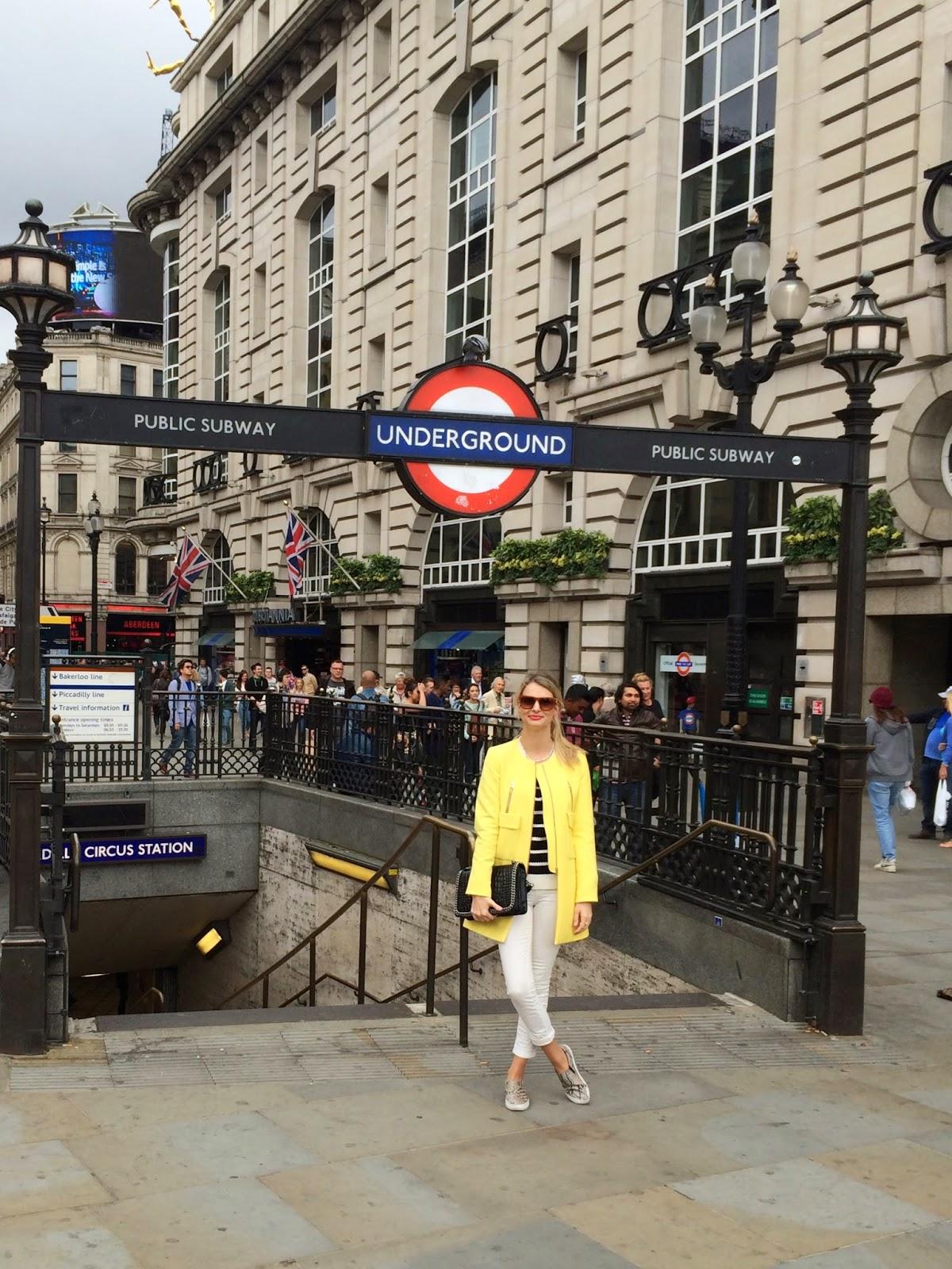 London underground, yellow coat, zara yellow coat, zara sale, zara sale coat, zara slipons, j brand jeans, j brand skinny jeans, piccadilly, oxford circus, london