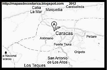 Mapa de CARACAS, capital de VENEZUELA, blanco y negro (google maps)