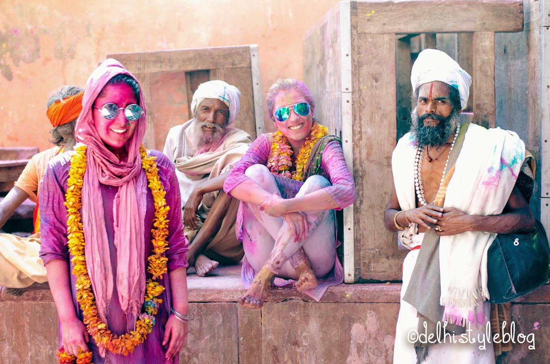 Holi at Banke Bihari Temple Sadhus