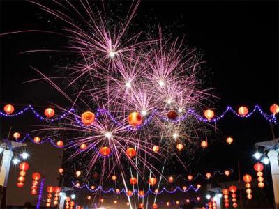 Pesta Kembang Api. Tahun Baru.