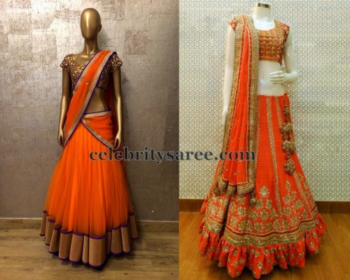 Orange Half Sarees by Shilpa Reddy