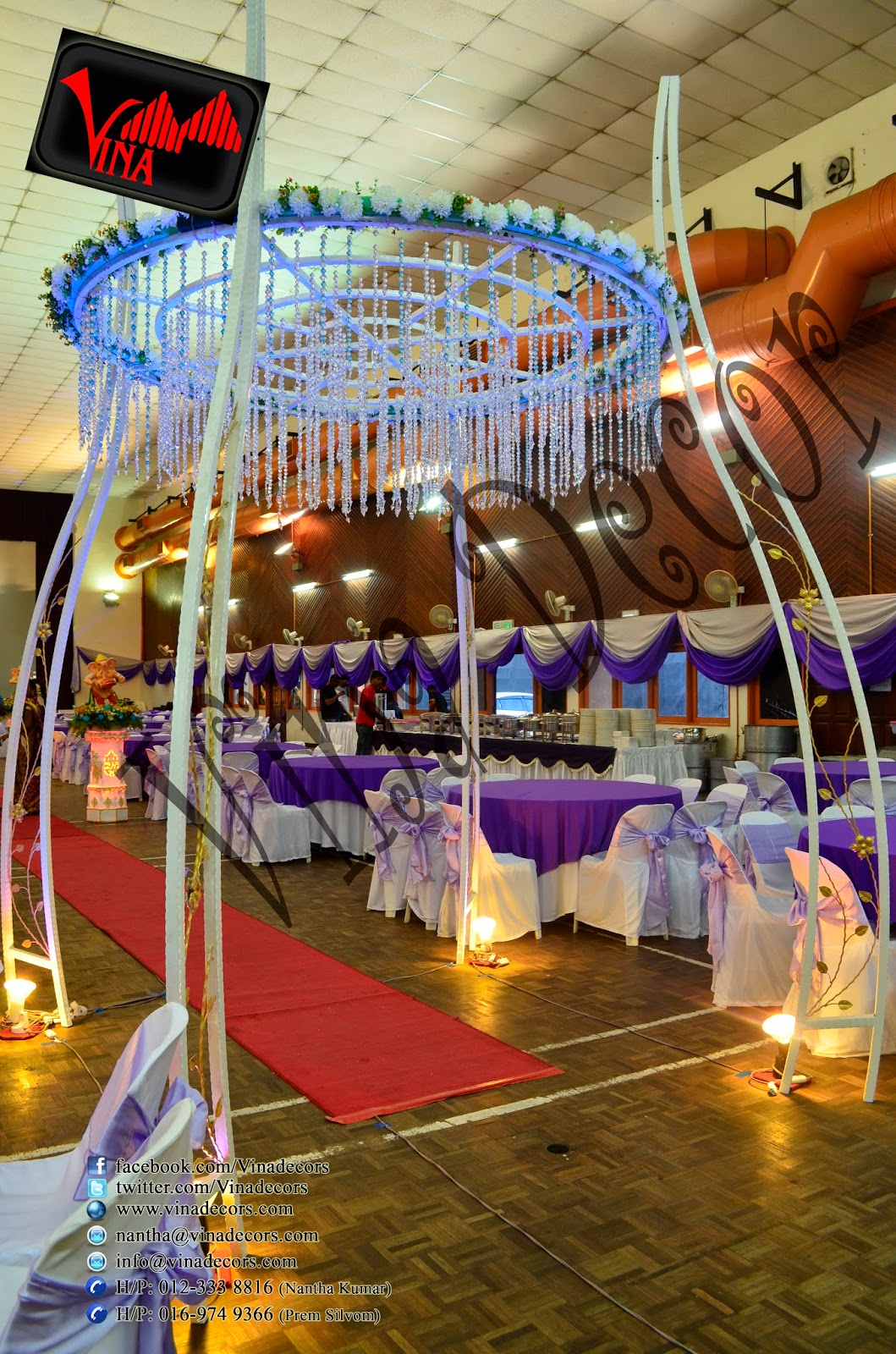 Wedding and Wedding dinner at Dewan Dato Ahmad Razali, Kampung Melayu Ampang, 68000 Ampang, Selangor, Malaysia (Ampang Hall) (Setup for Ganesha Flower pillar, Red Carpet, Stage Scallop and Backdrop with lighting, Manavarai, Crystal Dome Arch chair (cover & ribbon) and Table (cloth).