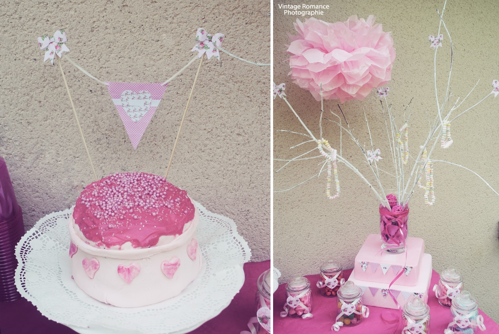 ambiance vintage et cake coeur