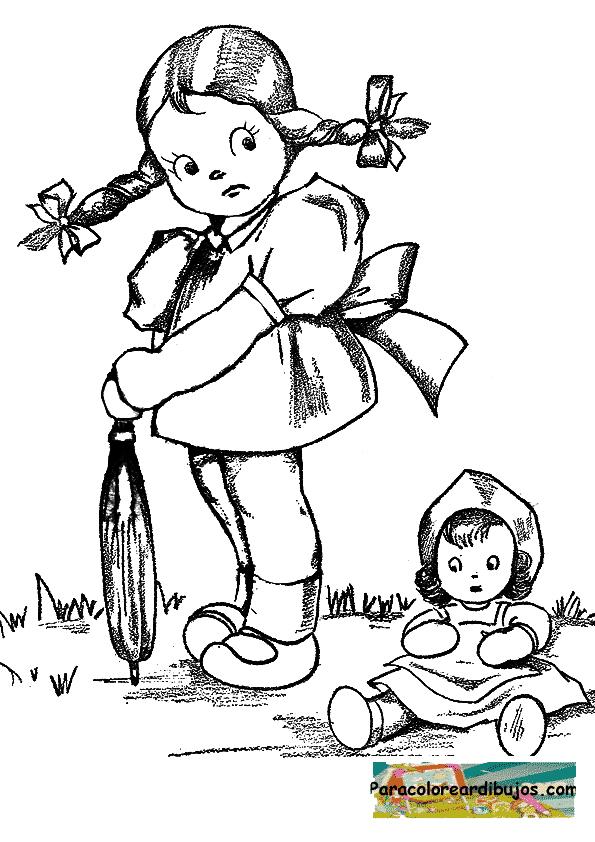 niña con muñeca para colorear | Para colorear dibujos y dibujos