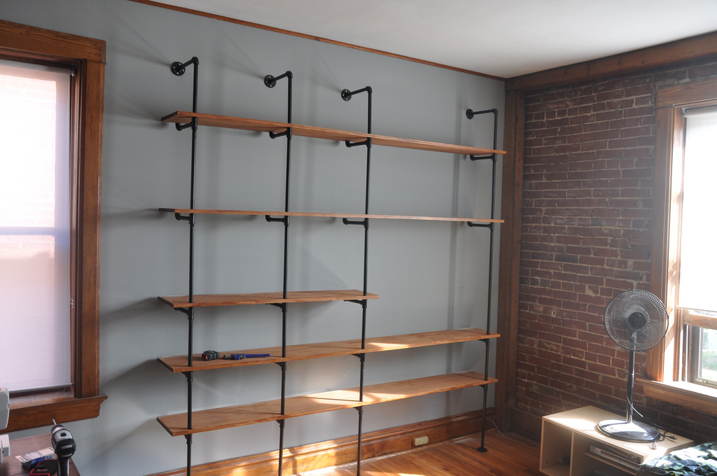industrial chic reclaimed wood pipe shelving unit. Black Bedroom Furniture Sets. Home Design Ideas