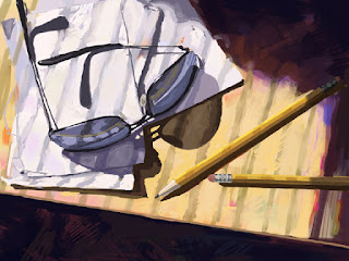iPad still life drawing of sunglasses and pencils on a table.
