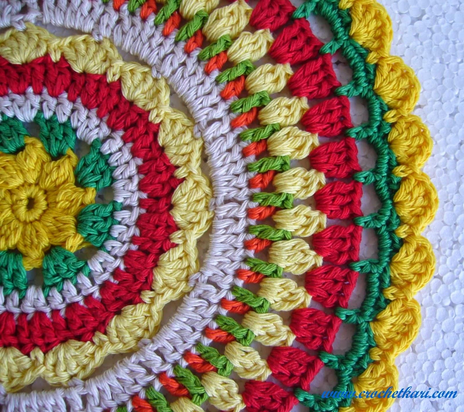 Rising sun crochet mandala detail