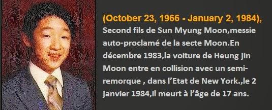 Secte Moon :Heung Jin Nim Moon : Le fils décédé qui se réincarna en un zimbabwéen.