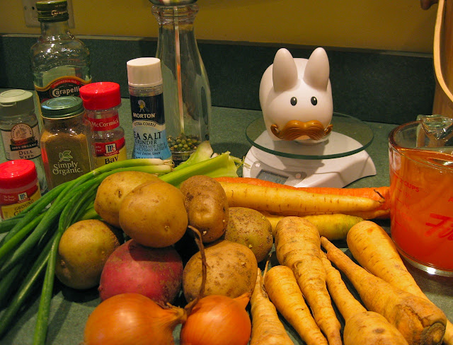 Labbit with soup ingredients