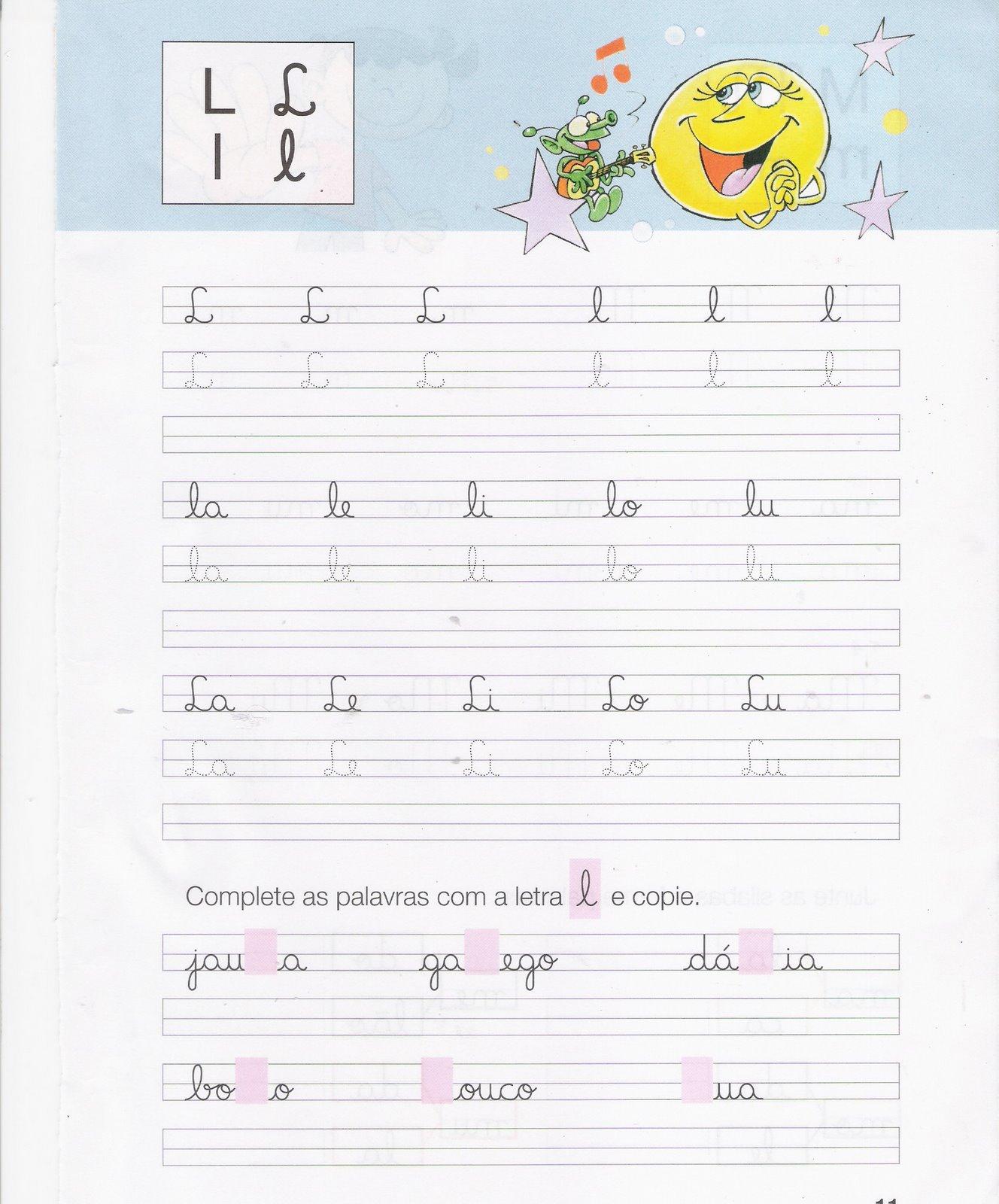 Fichas de caligrafia: Letras L, M, N, P, - Atividades Educativas
