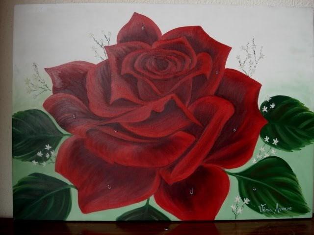Pintura em tela vendas pintura em tela rosa vermelha - Como pintar sobre tela ...