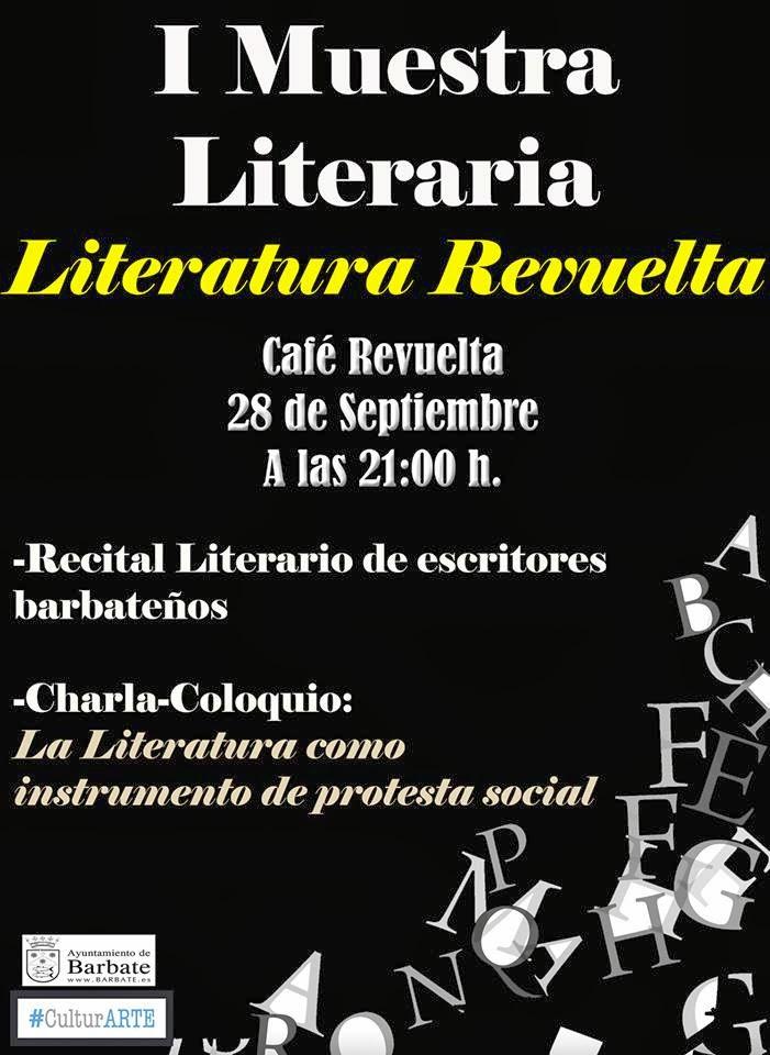 CARTEL DE LA I MUESTRA LITERARIA: CAFÉ REVUELTA