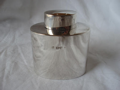 OVAL TEA CADDY STERLING SILVER CHESTER 1912