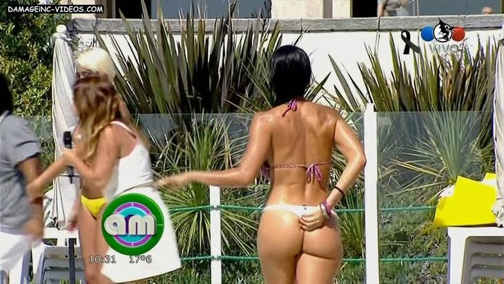 Argentina Showgirl Celeste Muriega hot ass in white thong bikini HD video damageinc