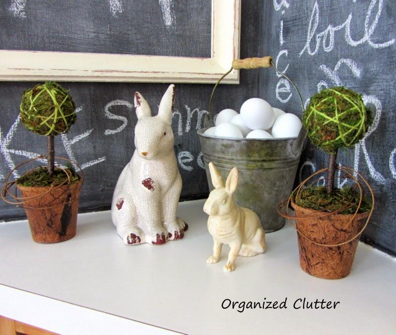 Moss Ball Topiary, Bunnies, & Walmart Eggs www.organizedclutterqueen.blogspot.com