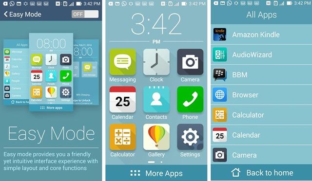 Fitur Zenfone Easy Mode yang merupakan bagian dari ZenUI