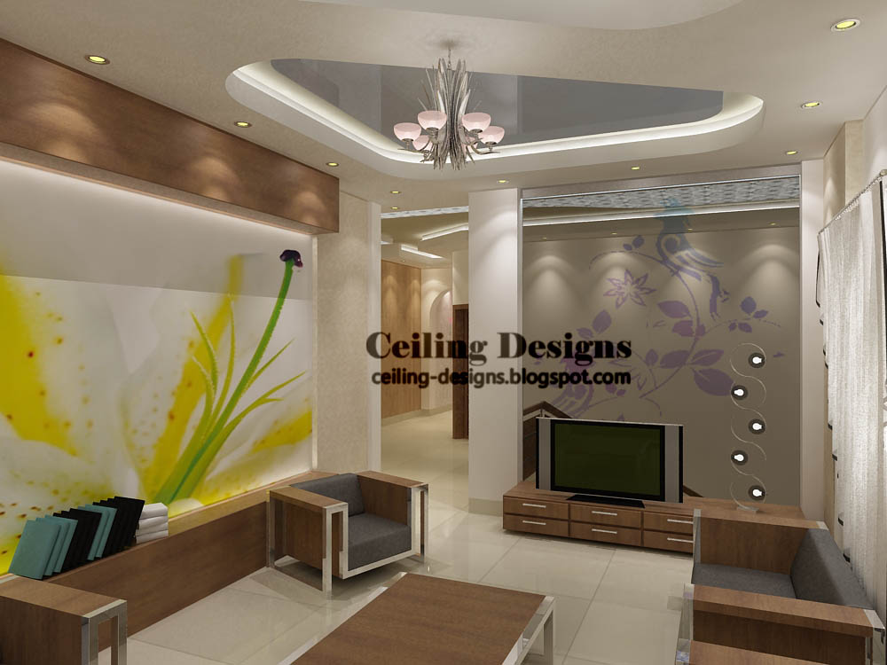 modern stretch false ceiling design for living room