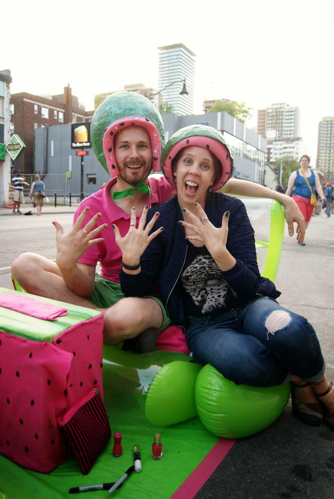 Nuit Rose Art Event, Expert Nailz, Humboldt Magnussen, World Pride, Toronto, Melanie_Ps, The Purple Scarf, Ontario, Canada, culture, art, event,lifestyle, gay, lesbian, lightoxes, artmatters, LGBT, manicure, watermelon, nails,nailpolish, performance