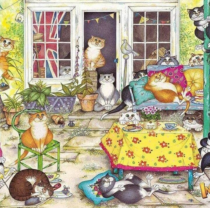 Gatos en el porche