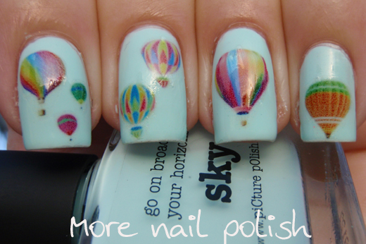 Hot air balloon nails for an adventure more nail polish i printed out some water decals cut them out individually and placed them on my nails every nail on both hands was different prinsesfo Choice Image