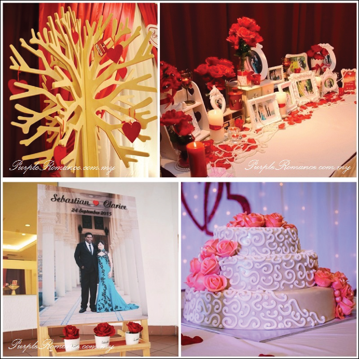 Wedding decoration at bukit mewah club kajang maroon ivory theme to inquire on our wedding decorations such as stage backdrop love corner reception table welcome board and photo booth backdrop decoration junglespirit Images