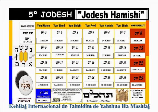 CALENDARIO 5º JODESH/MES