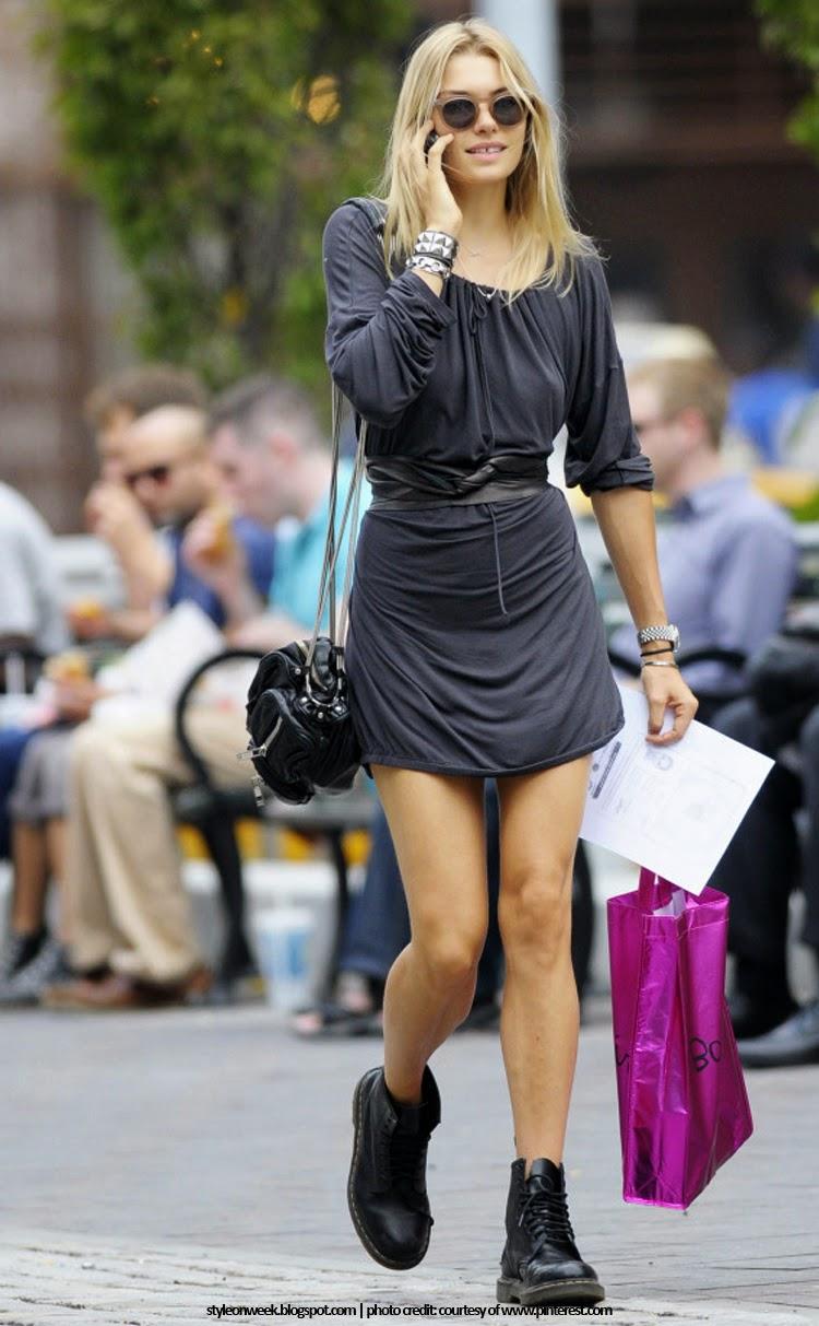 Jessica Hart Street Style Snapshot - Combat Boots